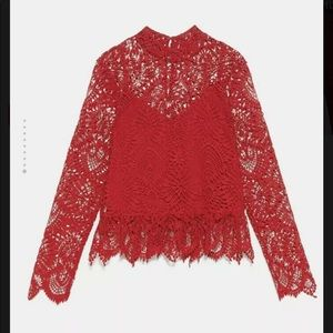 Zara NWT Red Lace Top